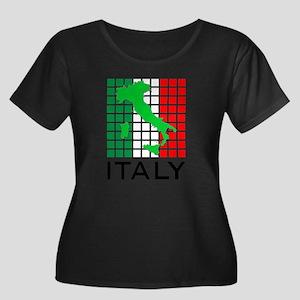 italy fl Women's Plus Size Scoop Neck Dark T-Shirt