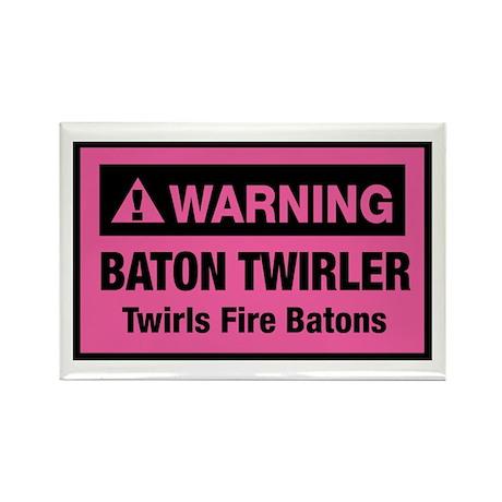 Fire Baton Twirler Rectangle Magnet