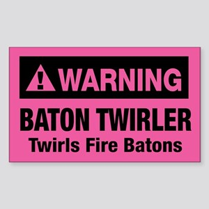 Fire Baton Twirler Rectangle Sticker