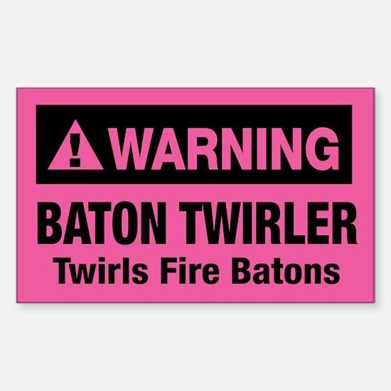 Fire Baton Twirler Rectangle Decal