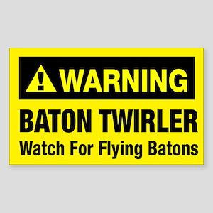 WARNING Baton Twirler Rectangle Sticker