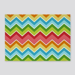 Colorful zig zags pattern 5'x7'Area Rug