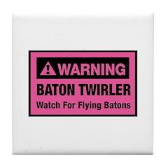 WARNING Baton Twirler Tile Coaster