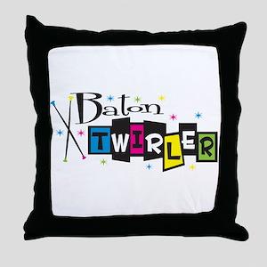 Retro Baton Twirler Throw Pillow