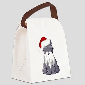 Santa Schnauzer Canvas Lunch Bag
