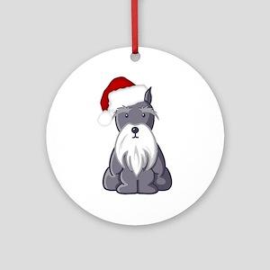 Santa Schnauzer Ornament (Round)