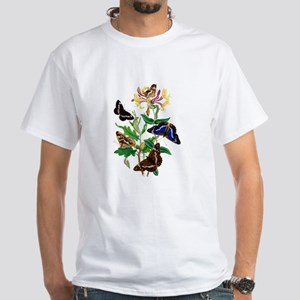BUTTERFLIES AND HONEYSUCKLE White T-Shirt