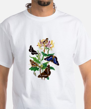 BUTTERFLIES AND HONEYSUCKLE White T-Shirt