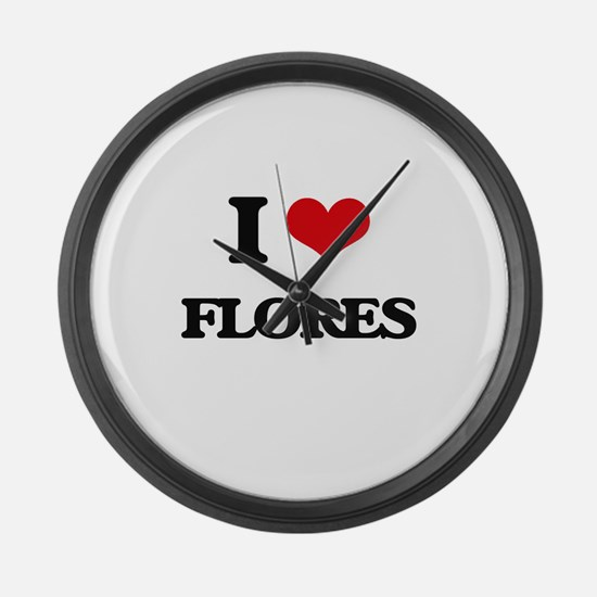 I Love Flores Large Wall Clock