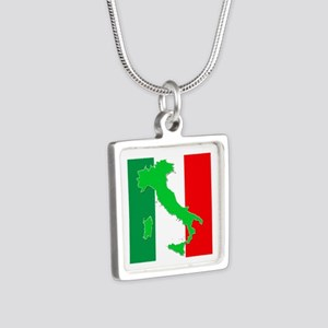 italy flag 06 Silver Square Necklace