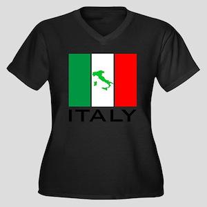 italy flag 0 Women's Plus Size V-Neck Dark T-Shirt