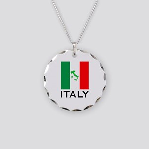 italy flag 00 Necklace Circle Charm