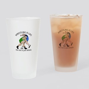 WRESTLING IS LIFE Drinking Glass