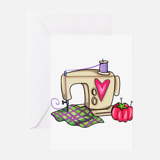 SEWING MACHINE Greeting Cards