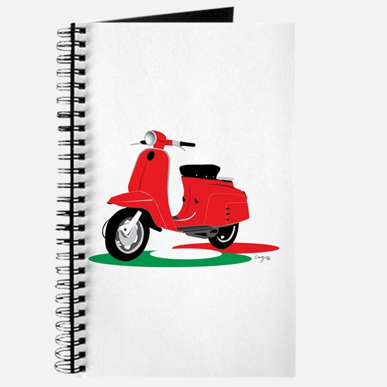 Retro Moped Red Journal