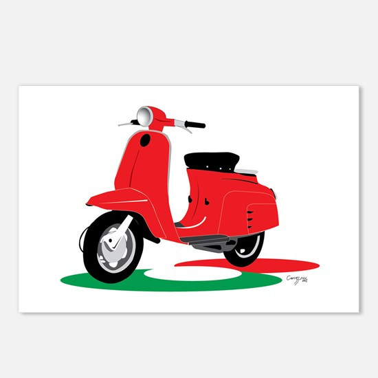 Retro Moped Red Postcards (Package of 8)