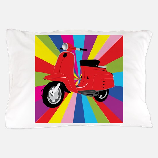 Red Retro Moped Pillow Case