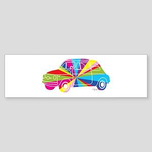 Retro Car Rainbow Bumper Sticker