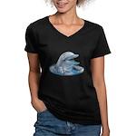 Happy Dolphin Women's V-Neck Dark T-Shirt