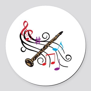 CLARINET WITH MUSIC Round Car Magnet