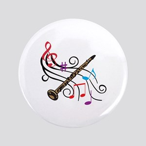 """CLARINET WITH MUSIC 3.5"""" Button"""
