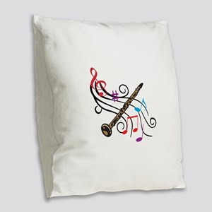 CLARINET WITH MUSIC Burlap Throw Pillow