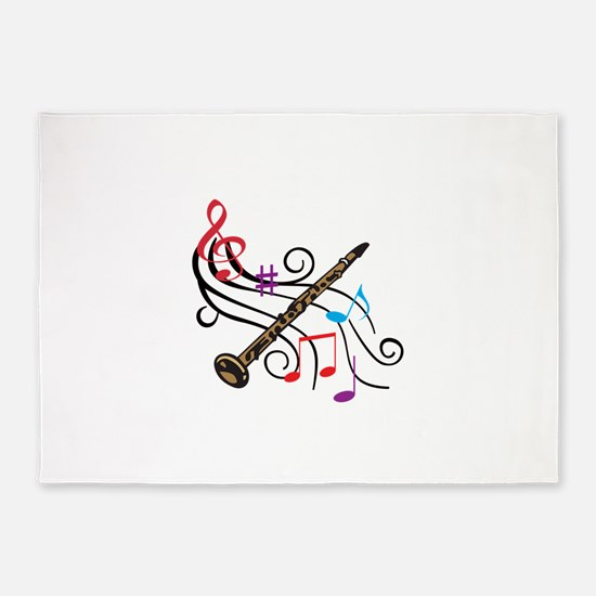 CLARINET WITH MUSIC 5'x7'Area Rug