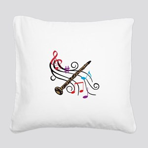 CLARINET WITH MUSIC Square Canvas Pillow