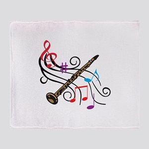CLARINET WITH MUSIC Throw Blanket