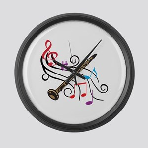 CLARINET WITH MUSIC Large Wall Clock