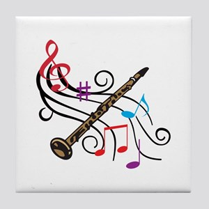 CLARINET WITH MUSIC Tile Coaster