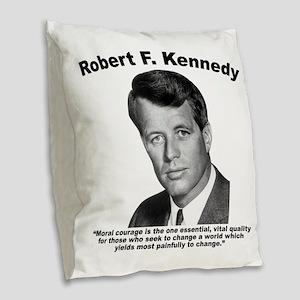 RFK: Courage Burlap Throw Pillow