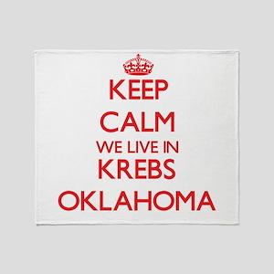 Keep calm we live in Krebs Oklahoma Throw Blanket