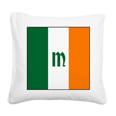 Irish Stripes Monogram Square Canvas Pillow