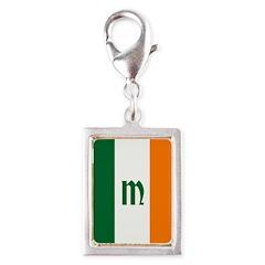 Irish Stripes Monogram Silver Portrait Charm