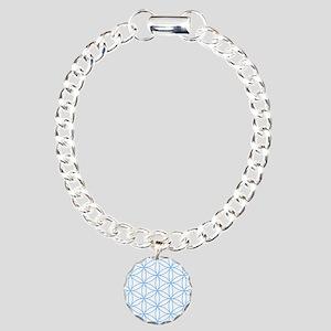 Flower of Life Lt Blue/Wt Charm Bracelet, One Char