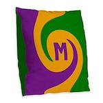 Mardi Gras Swirls Monogram Burlap Throw Pillow