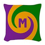 Mardi Gras Swirls Monogram Woven Throw Pillow