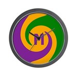 Mardi Gras Swirls Monogram Wall Clock