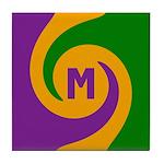 Mardi Gras Swirls Monogram Tile Coaster