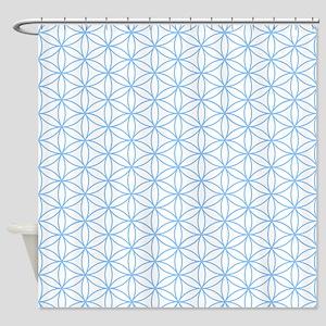 Flower of Life Lt Blue/Wt Shower Curtain