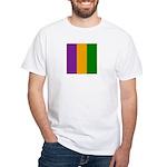 Mardi Gras Stripes White T-Shirt