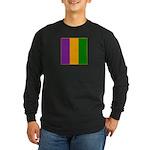 Mardi Gras Stripes Long Sleeve Dark T-Shirt