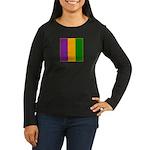 Mardi Gras Stripe Women's Long Sleeve Dark T-Shirt