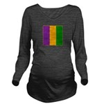Mardi Gras Stripes Long Sleeve Maternity T-Shirt