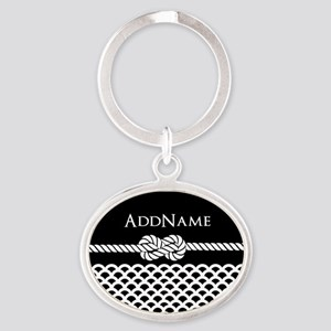 Fish Scales Scalloped Shells Persona Oval Keychain