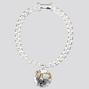 Cool Cat Hipster Charm Bracelet, One Charm