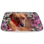 Trista, Rescue Dog in Flowers Bathmat