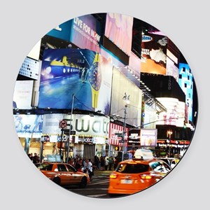 NYC at Night Round Car Magnet