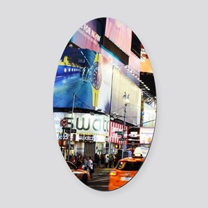 NYC at Night Oval Car Magnet